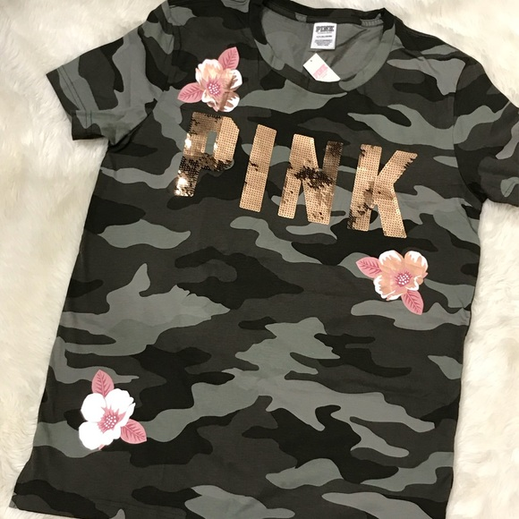 New Victoria/'s Secret PINK Campus Crew Rose Floral Gray Large Pink Logo
